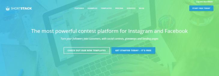 الصفحة الرئيسية لتطبيق ShortStack